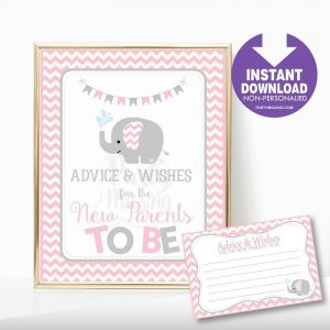 Printable Pink Elephant Advice and Wishes Baby Shower Sign | E348