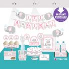 Printable Pink Elephant Baby Shower Set Decor, Girl Express Party Package Set  | E043