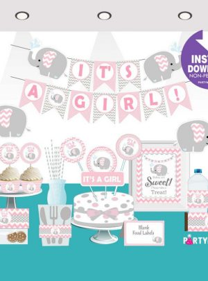 Pink Elephant Baby Shower Printable Express Party Package Set  E043
