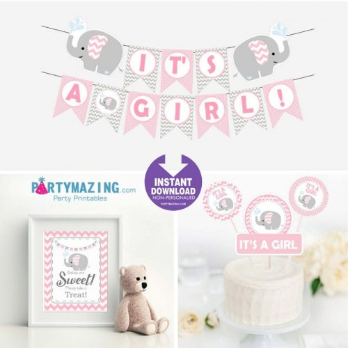 Printable Pink Elephant Baby Shower Set Decor, Girl Express Party Package Set    E043