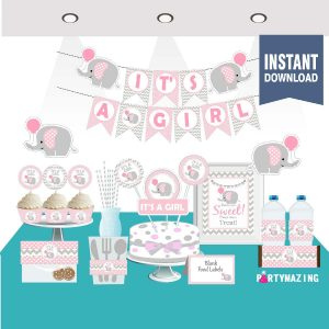 Printable Pink Elephant Baby Shower Set | elephant baby theme | elephant party decor | Girl EXPRESS Set| Party Decoration | BBEP1 | E192