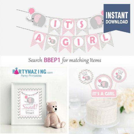 Printable Pink Elephant Baby Shower Set | elephant baby theme | elephant party decor | Girl EXPRESS Set| Party Decoration | BBEP1 | E192