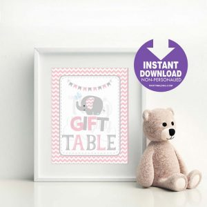Printable Pink Elephant Gift Table Baby Shower Party Sign | E340