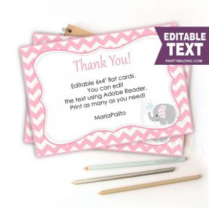 Printable Pink Elephant Thank You Card Note Template | E331