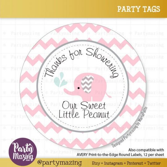 Printable Pink Elephant  Thank You For Showering Our Litte Peanut Tags| E249