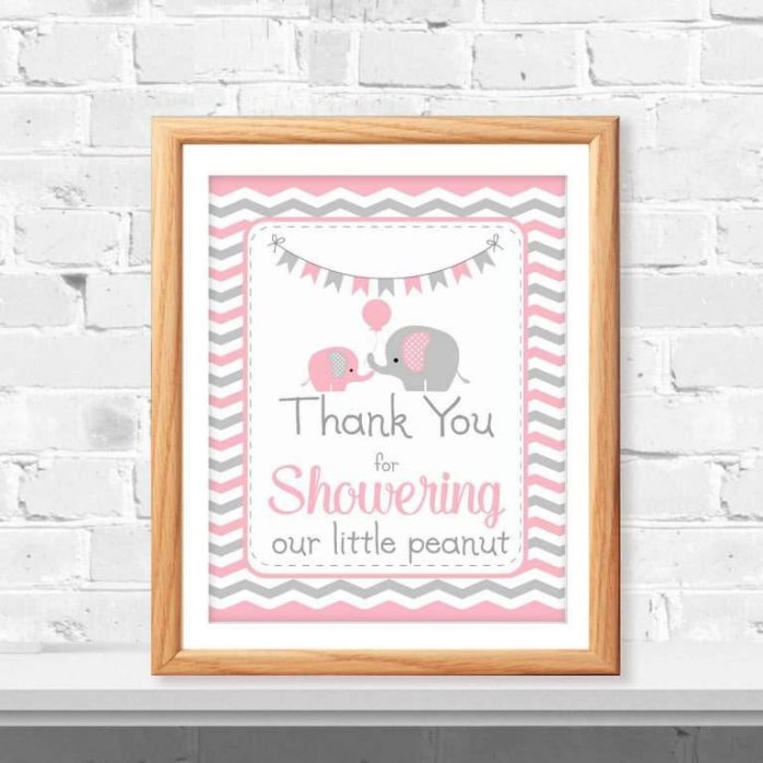 Printable Pink Elephant Thank You For Showering Our Little Peanut Baby Shower Sign   E096