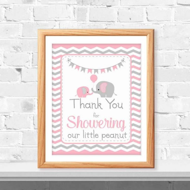 Printable Pink Elephant Thank You For Showering Our Little Peanut Baby Shower Sign | E096