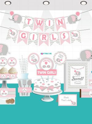 Twin Girls Elephant Printable Baby Shower Express Party Set E035