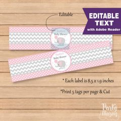 Printable Pink Elephant Water Bottle Wrapper Labels   E154