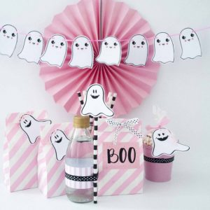 Printable Hand Drawn Pink Halloween Decor, Little Ghost Garland & Favor Tags | E378
