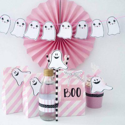 Printable Hand Drawn Pink Halloween Decor, Little Ghost Garland & Favor Tags | E378