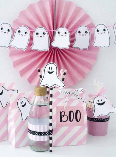 Pink Halloween Little Ghost Printable Decor | E378