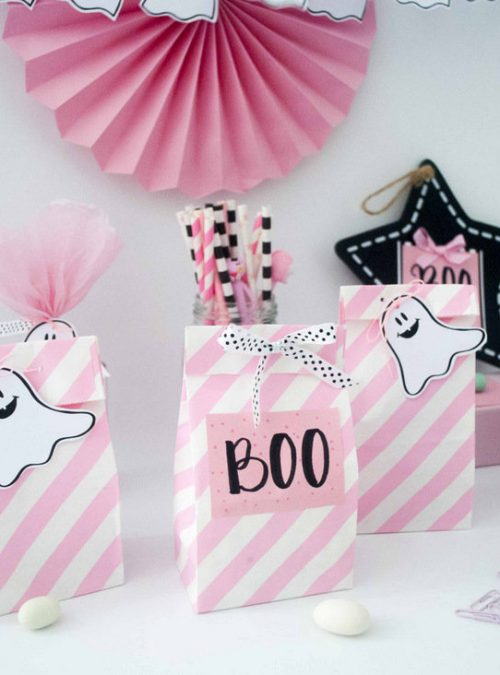 Printable Pink Little Ghost Boo Halloween Party Tags, Party Banner & Matching Paper | E378