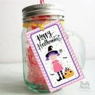 Printable Pink Little Witch Hand Drawn Happy Halloween Tag for your Little Girl or your Kids Halloween Candy Bags| Rectangle Tag | E251