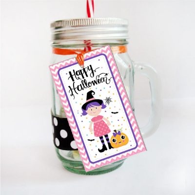 Pink Little Witch Happy Halloween Candy Bag Tags   PK20   E251