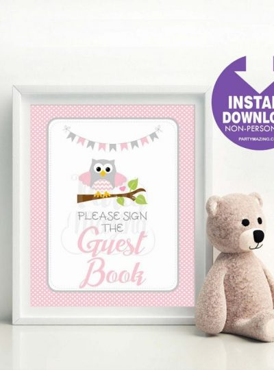 Pink Owl Guest Book Printable Party Sign  E345
