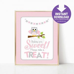 Printable Pink Owl Take A Treat Baby Shower Party Sign | E326