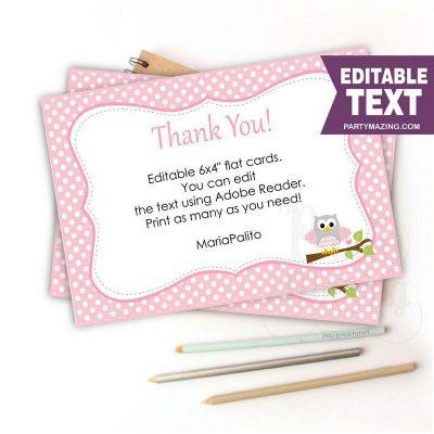 Printable Pink Owl Thank You Card Note | E339
