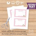 Printable Pink Owl Thank You Card Note | E339