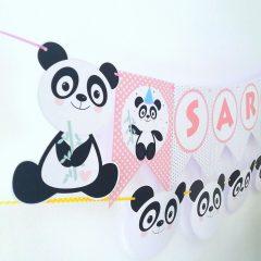 Pink Panda Banner | Printable Name Garland | E176