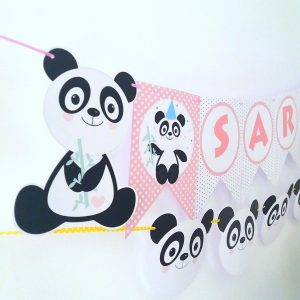 Printable Pink Panda Banner | Printable Panda Birthday or Baby Shower Garland | SVG Cut files | E176