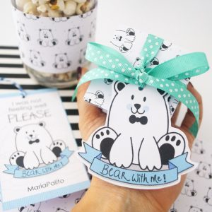 Printable Please Bear with Me Gift Tag Set , Handdrawn I am sorry Label and Matching Wrapping Paper | E194