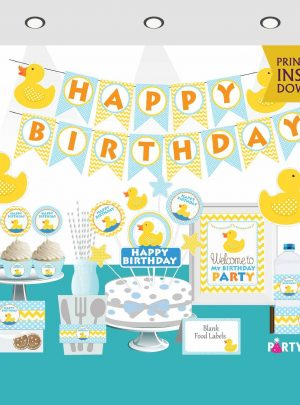 Printable Rubber Duck Birthday Express Party Package Set | E010