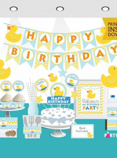 Rubber Duck Birthday Printable Express Party Package Set   E010
