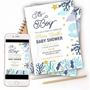Printable Sea Shell Baby Shower Invitation for Printing for your Baby Boy Baby Shower Party, Email or Whatsapp Sending | E302