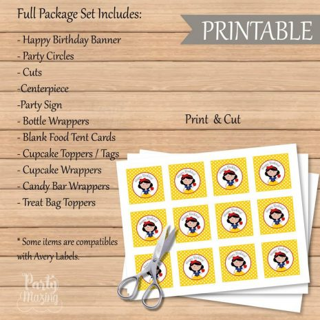 Printable Snow White Party Set   Enchanted Forest Party Package   Princess EXPRESS Party Package Decoration Kit   HBSNW   E012