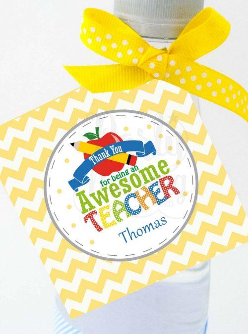 Printable Thank you Teacher Appreciation Tag with Editable Text for Self-Edition | E117