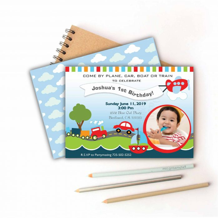 Printable Transportation Invitation with Kid Picture for your Nautical Ship or Transportation Birthday Party| E216