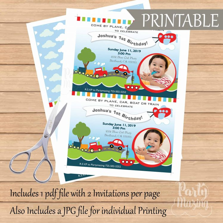 Printable Transportation Invitation with Kid Picture for your Nautical Ship or Transportation Birthday Party  E216