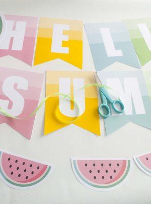 Hello Summer Watermelon Printable Banner Garland | E191