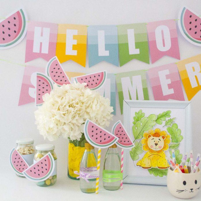 Printable Watermelon Hello Summer Banner Decoration Ombre Style Garland | E191