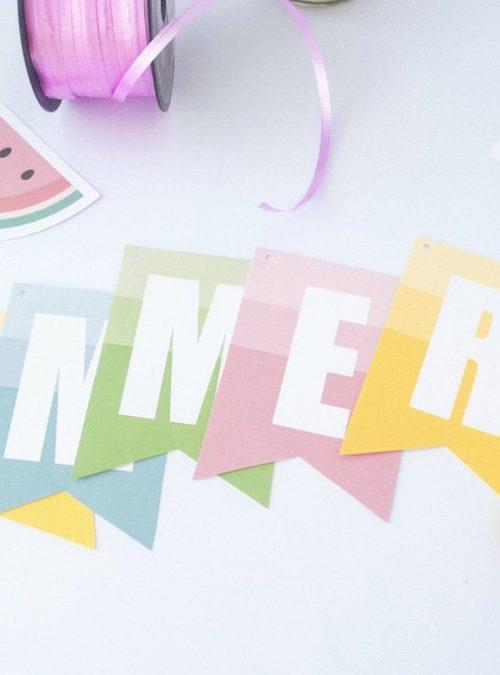 Printable Watermelon Hello Summer Banner Decoration Ombre Style Garland   E191