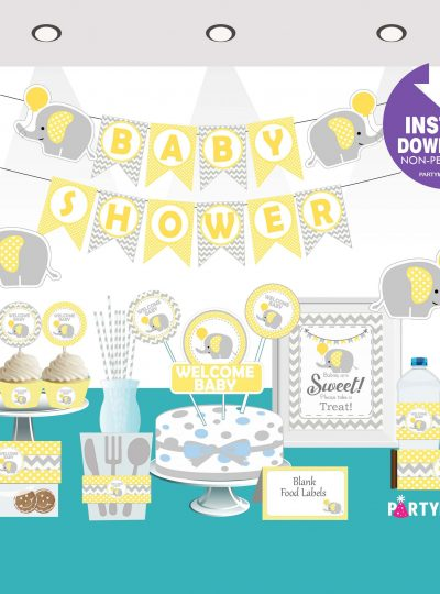Yellow Elephant Printable Baby Shower Express Party Set E045