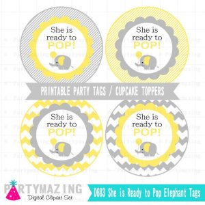 Printable Yellow Elephant Baby Shower She is ready to pop Tags  E074