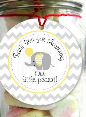 Yellow Elephant Baby Shower Printable Thank You DIY Tags E073