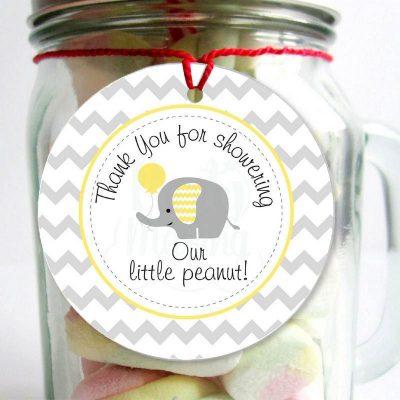 Printable Yellow Elephant Baby Shower Thank You DIY Tags | E073