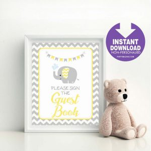 Printable Yellow Elephant Chevron Guest Book Party Sign | E325