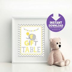 Printable Yellow Elephant Gift Table Party Sign | E305