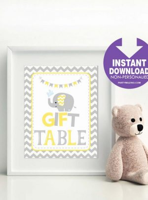 Yellow Elephant Printable Gift Table Sign E286