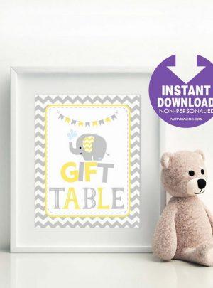 Yellow Elephant Printable Gift Table Sign E286