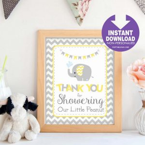 Printable Yellow Elephant Sign | Thank You For Showering Our Little Peanut | Party Sign | DIY | BBEY2 | E106
