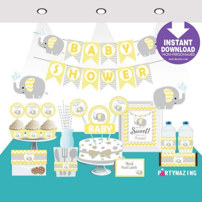 Printable Yellow Elephant Welcome Baby Shower Set EXPRESS Party Package Decoration Kit | E040
