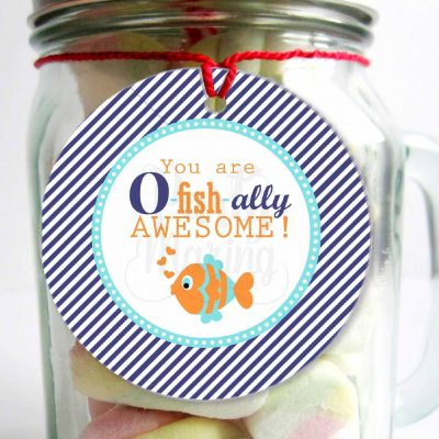 Printable You Are O-fish-ally Awesome Thank you Tags for Under the sea party, school celebration or classmate gifts | E237