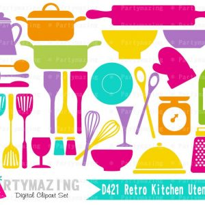 Retro Kitchen Utencils Clipart Graphic Set | E357