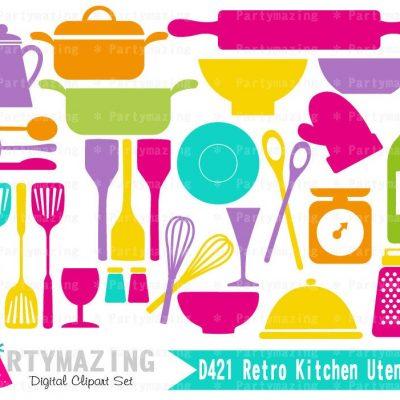 Retro Kitchen Utencils Clipart Graphic Set   E357
