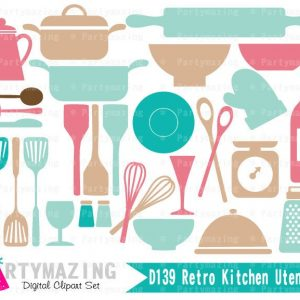 Retro Kitchen Utensils Clip Art Graphic Set | E322